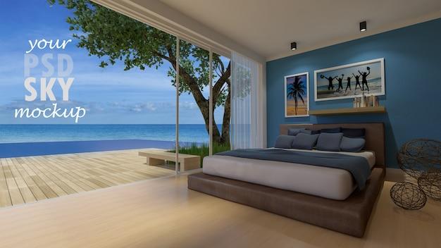 Dormitorio de diseño de interiores con maqueta de marco y maqueta de vista