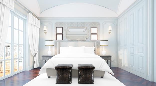 Dormitorio doble elegante y realista con muebles y grandes ventanales