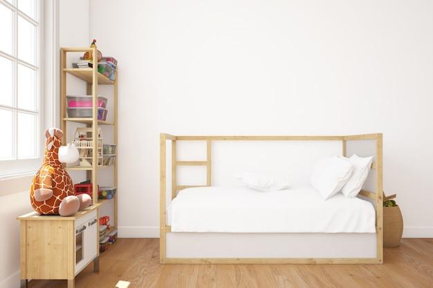 Dormitorio infantil realista con cama y estanterías