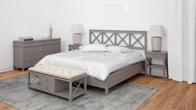 Dormitorio moderno o habitación de hotel con cama doble y muebles elegantes.