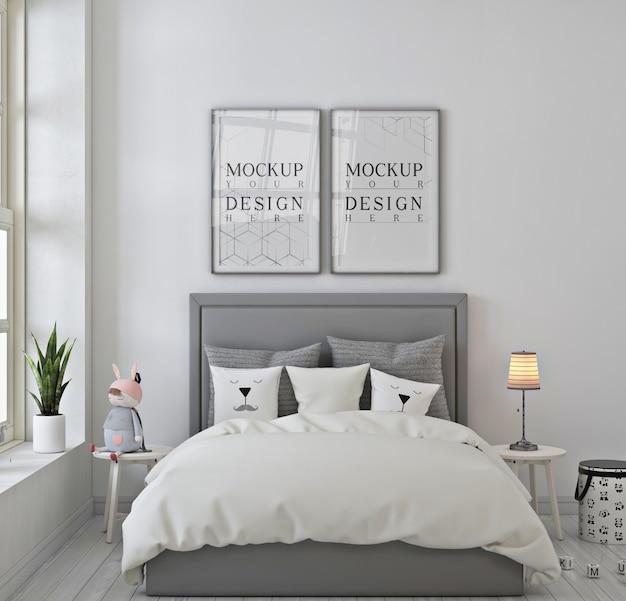 Dormitorio de niños con marco de póster de maqueta