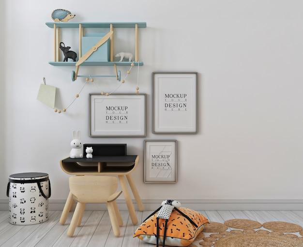 Dormitorio simple para niños con maqueta de marco de póster