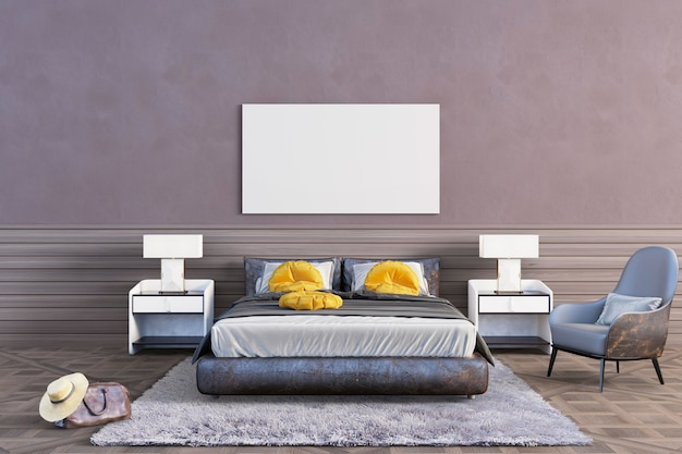 Dormitorio con tonos marrones