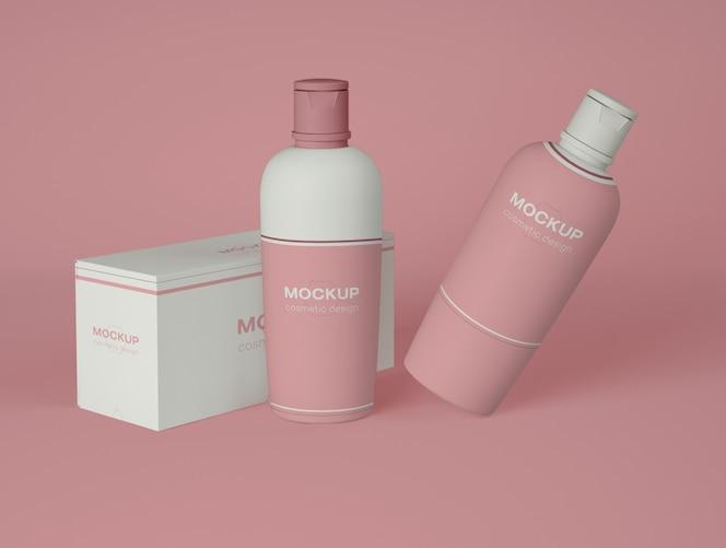 Dos botellas cosméticas con maqueta de embalaje