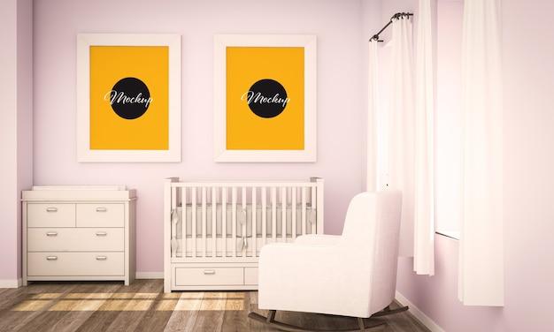 Dos carteles en blanco en la representación 3d de la habitación rosada del bebé