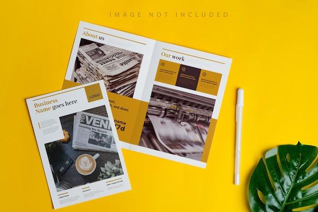 Dos folletos de maquetas en amarillo