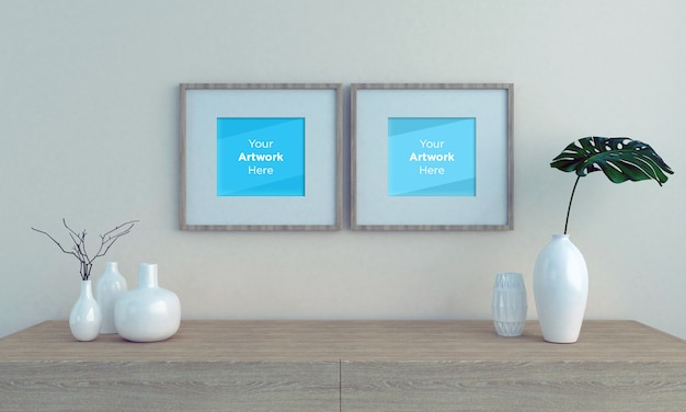Dos maquetas de marcos de fotos vacías con gabinete de madera y jarrones