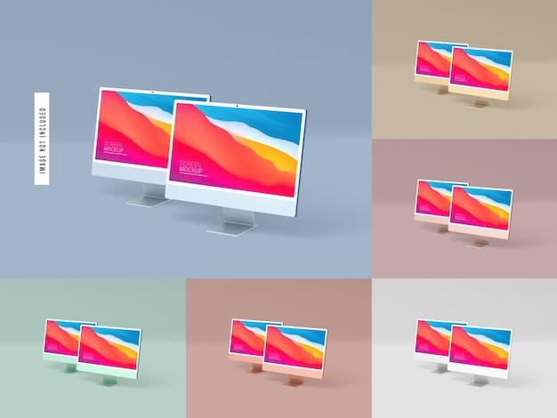 Dos maquetas de pantalla de escritorio aisladas