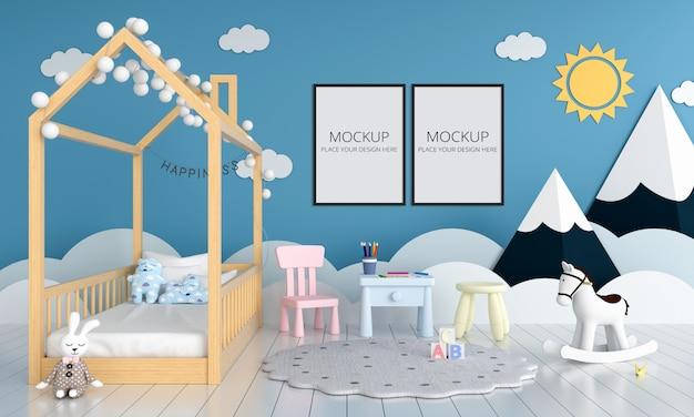 Dos marcos de fotos en blanco para maqueta en dormitorio infantil