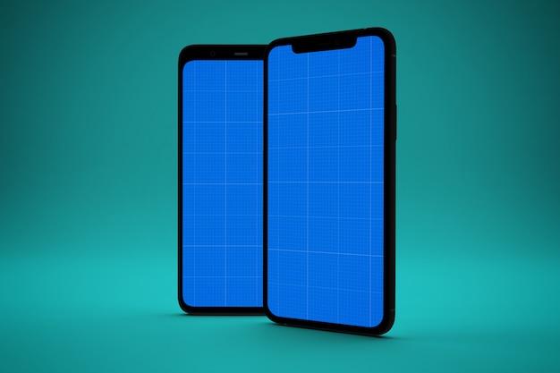 Dos teléfonos inteligentes con pantalla de maqueta