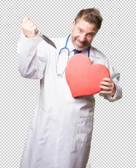 Dottore uomo con un cuore