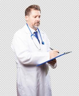 Dottore uomo con un inventario