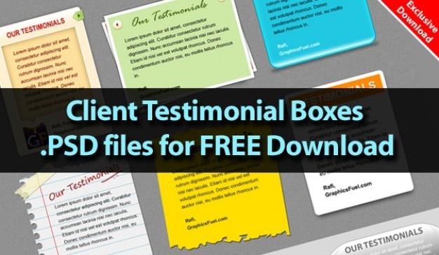 Downloaden aantrekkelijke client testimonial dozen in psd-bestanden