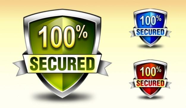 Downloaden security shield logo en pictogrammen in kleuren