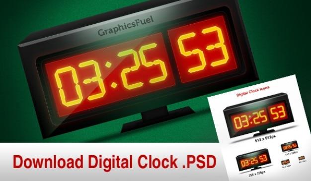 Downloaden van digitale klok grafische en zijn icon in verschillende maten