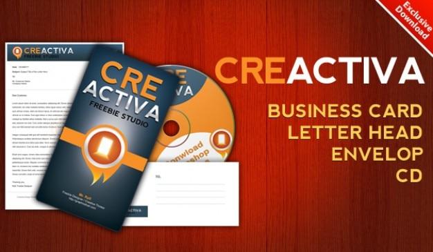 Downloaden visitekaartje briefpapier envelop cd label psd-bestanden