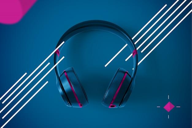 Draadloze hoofdtelefoon op abstract modern design