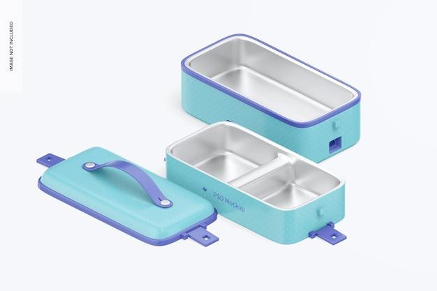 Draagbare elektrische lunchbox-mockup, isometrisch rechts aanzicht