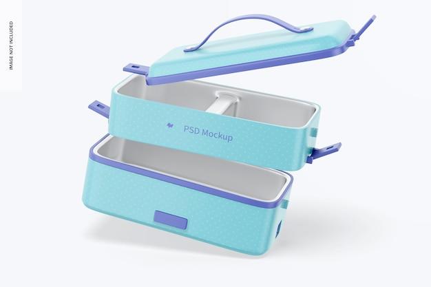 Draagbare elektrische lunchbox mockup, vallend