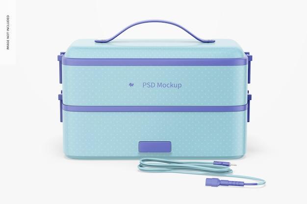 Draagbare elektrische lunchbox-mockup, vooraanzicht