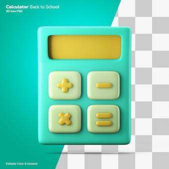 Draagbare rekenmachine wiskunde klasse symbool 3d-rendering pictogram bewerkbaar geïsoleerd
