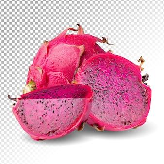 Dragonfruit of pitaya en gesneden geïsoleerd