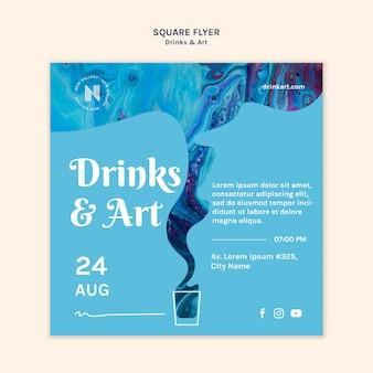 Drankjes & kunst flyer sjabloonontwerp