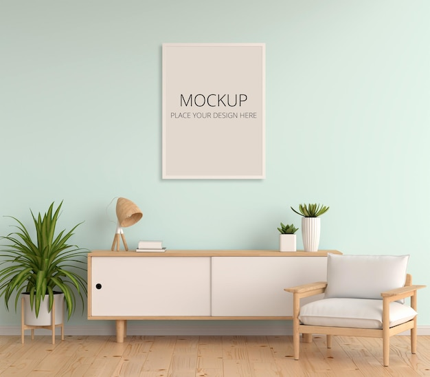Dressoir in woonkamer met frame mockup