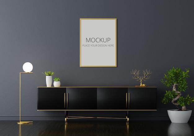 Dressoir in zwarte woonkamer met frame mockup