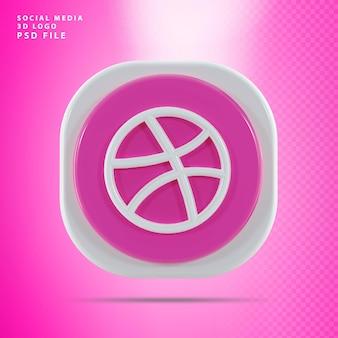 Dribbble icon 3d render vorm