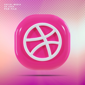 Dribbble logo 3d render luxe