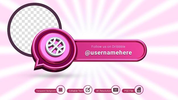 Dribbel 3d-rendering volg ons label geïsoleerd premium psd social media bannerpictogram