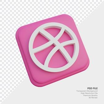Dribbel isometrische 3d-stijl logo concept pictogram in ronde hoek vierkant geïsoleerd