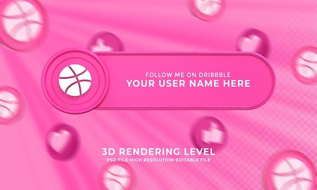 Dribble gebruikersnaam 3d-rendering lower thirds banner