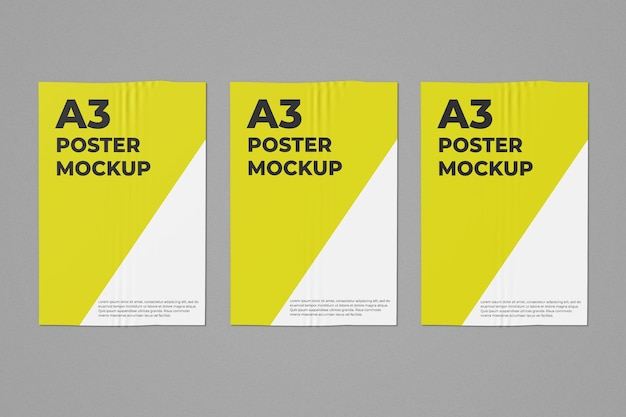 Drie a3-postermodel