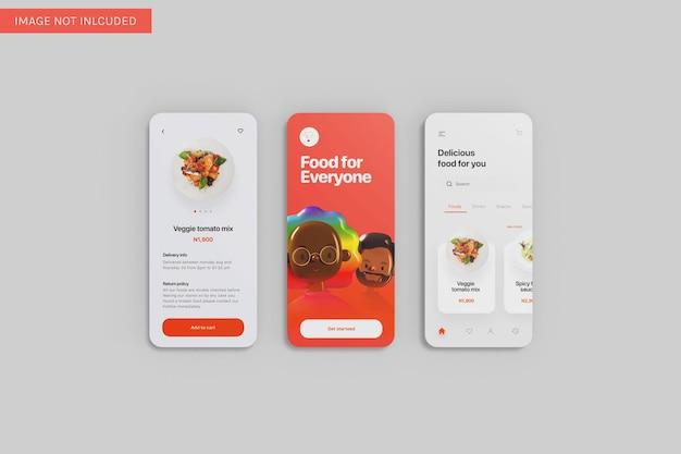 Drie app ui mockup bovenhoekweergave