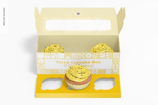 Drie cupcake box mockup, vooraanzicht