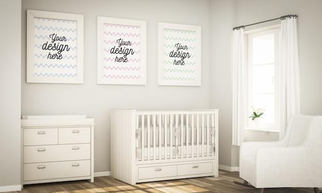 Drie frames op de babykamer mock-up