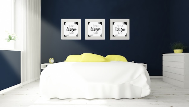 Drie frames op slaapkamer mock-up