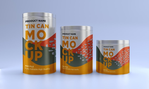 Drie metalen voedselblikverpakkingen mockupontwerp