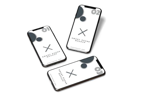 Drie mobiele realistische telefoons mockup