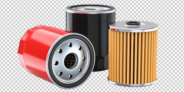 Drie motoroliefilters voor auto's