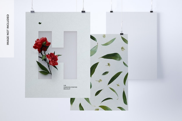 Drie portret poster mockup opknoping