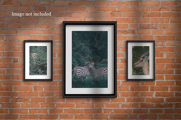 Drie realistische frame mockup