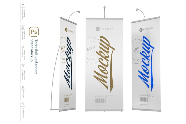 Drie roll-up banners stand mockup