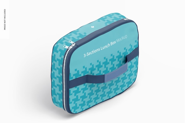 Drie secties lunchbox mockup, isometrische weergave