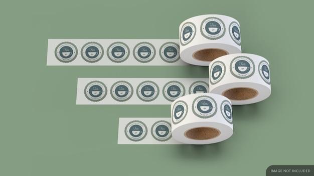 Drie sticker roll mockup