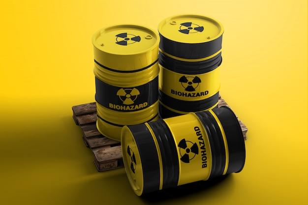 Drie vaten met biohazard symboolmodel