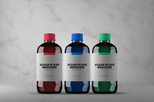 Drie verschillende glazen medicijnflesmodel