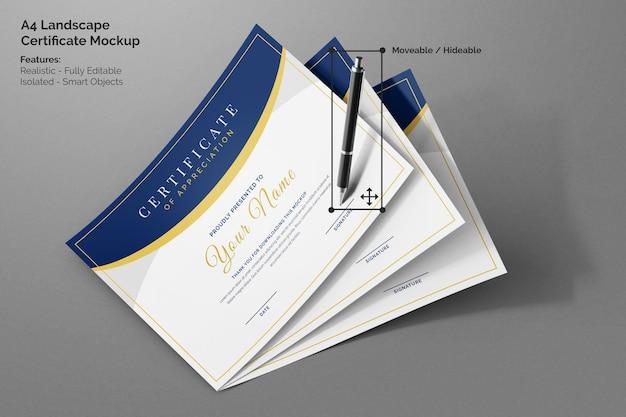 Drie vliegende moderne a4 landschap bedrijfscertificaat papieren realistische mockup met handtekeningpen